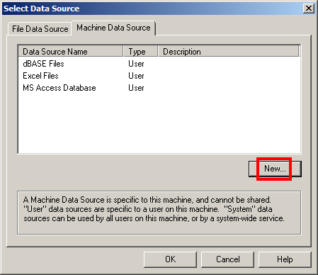 Select Data Source New