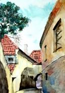 Old Riga, Water Painting by Sergo Cusiani